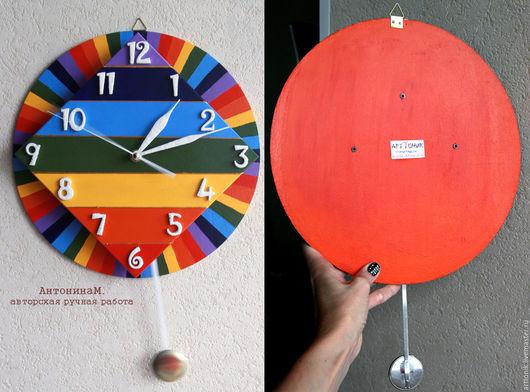 Часы для дома ручной работы. Ярмарка Мастеров - ручная работа. Купить Часы радуга с маятником. Handmade. Комбинированный, Авторский дизайн