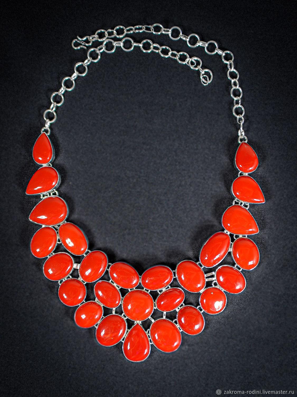 Колье с прессованным красным кораллом, Колье, Тольятти,  Фото №1