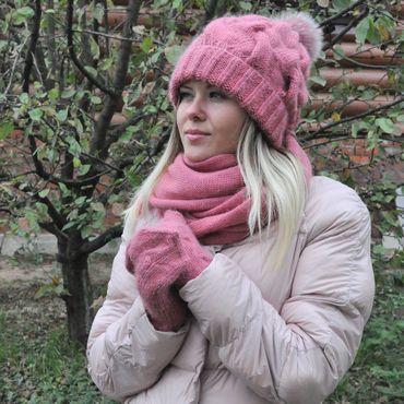 Аксессуары handmade. Livemaster - original item A set of winter from goat down. The color of pomegranates and cranberries.. Handmade.