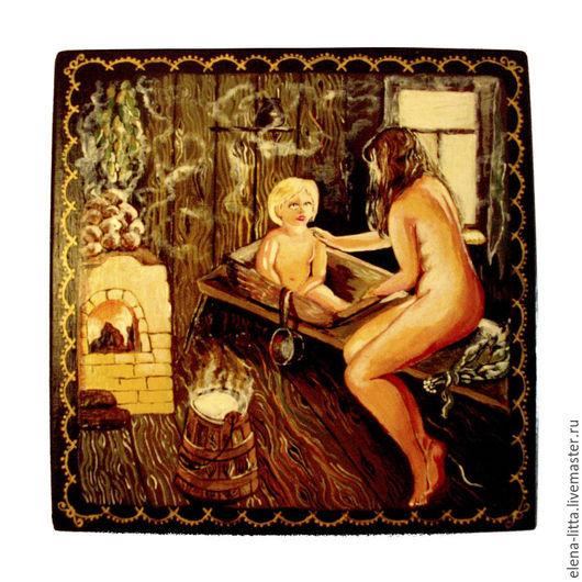 Расписная деревянная шкатулка `Банный день`.  Шкатулка выполнена  в технике лаковой миниатюры. Станет великолепным подарком и украшением Вашего дома.