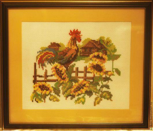 """Пейзаж ручной работы. Ярмарка Мастеров - ручная работа. Купить Вышитая картина """"Утро в деревне"""". Handmade. Разноцветный, петух, для дачи"""