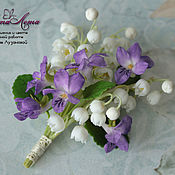 Украшения handmade. Livemaster - original item Brooch Lily of the valley and violets of the