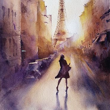 Pictures and panels handmade. Livemaster - original item Watercolor painting Sunset in Paris (purple yellow cityscape). Handmade.