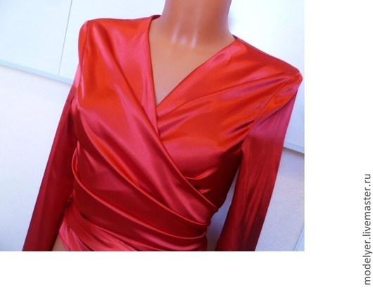 Блузки ручной работы. Ярмарка Мастеров - ручная работа. Купить блуза Silk  S, M ,L /красный атласный шелк. Handmade.