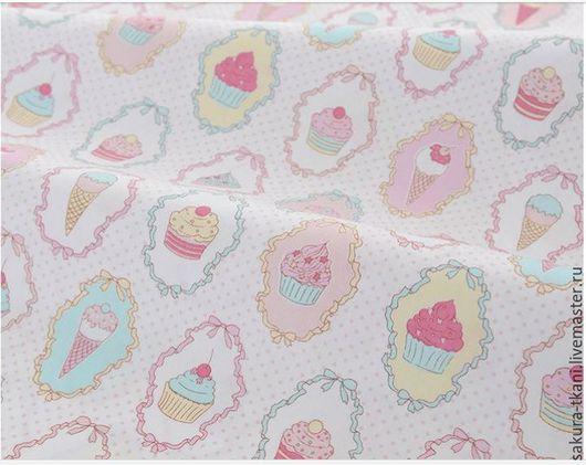 """Шитье ручной работы. Ярмарка Мастеров - ручная работа. Купить Ткань """"Пироженое"""" сатин, 100% хлопок. Handmade. Розовый"""
