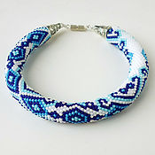 "Bead bracelet handmade. Livemaster - original item Браслет ""Гжель"". Handmade."