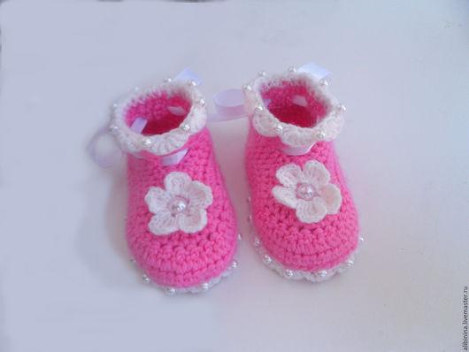 """Для новорожденных, ручной работы. Ярмарка Мастеров - ручная работа. Купить Пинетки """"Принцесса"""". Handmade. Розовый, удобные пинетки, для новорожденных"""