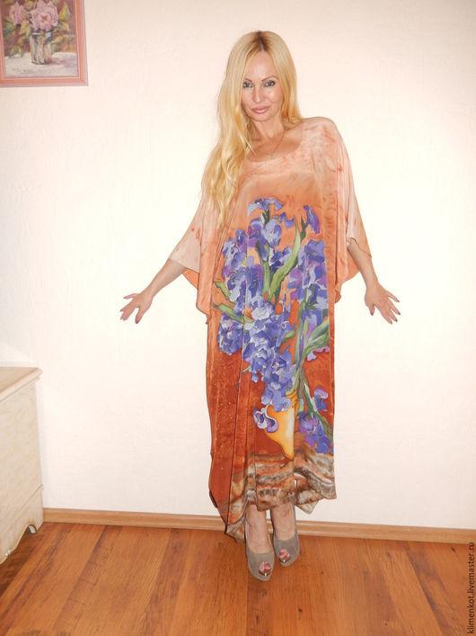 Большие размеры ручной работы. Ярмарка Мастеров - ручная работа. Купить платье -Синие ирисы(С.Дали). Handmade. Желтый, платье