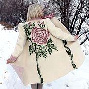 Одежда ручной работы. Ярмарка Мастеров - ручная работа Пальто валяное Снежная роза. Handmade.