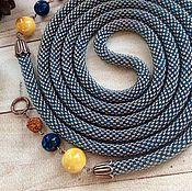 Украшения ручной работы. Ярмарка Мастеров - ручная работа Серо-голубой длинный лариат из бисера. Handmade.