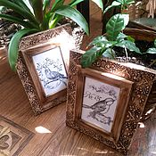 Картины и панно ручной работы. Ярмарка Мастеров - ручная работа Диптих Птицы. Handmade.