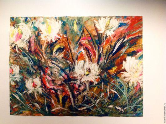 Картины цветов ручной работы. Ярмарка Мастеров - ручная работа. Купить Белые пионы.Картина на габардине(авторская). Handmade. Ярко-красный