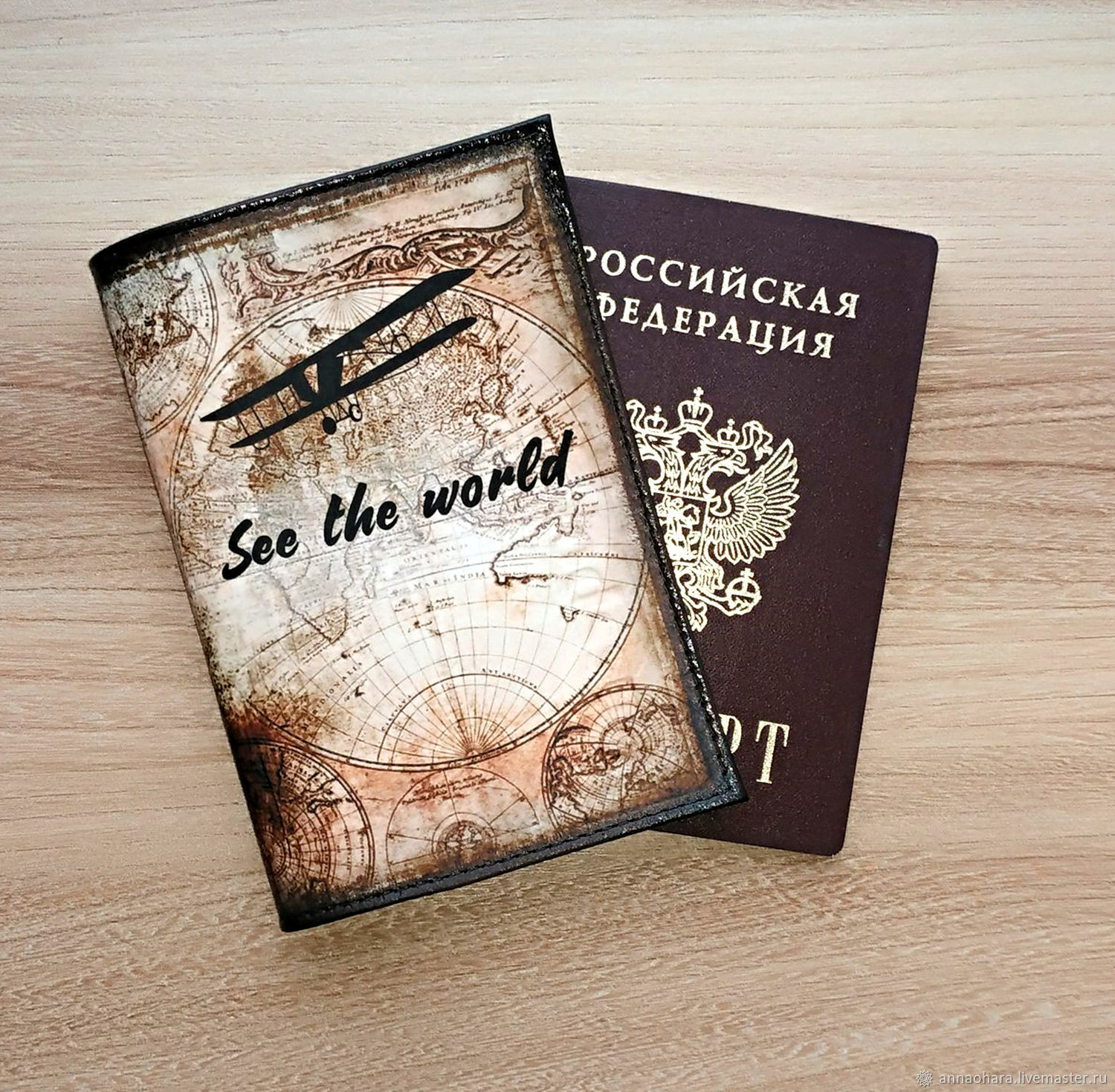 Passport cover men's Travel leather, Passport cover, St. Petersburg,  Фото №1