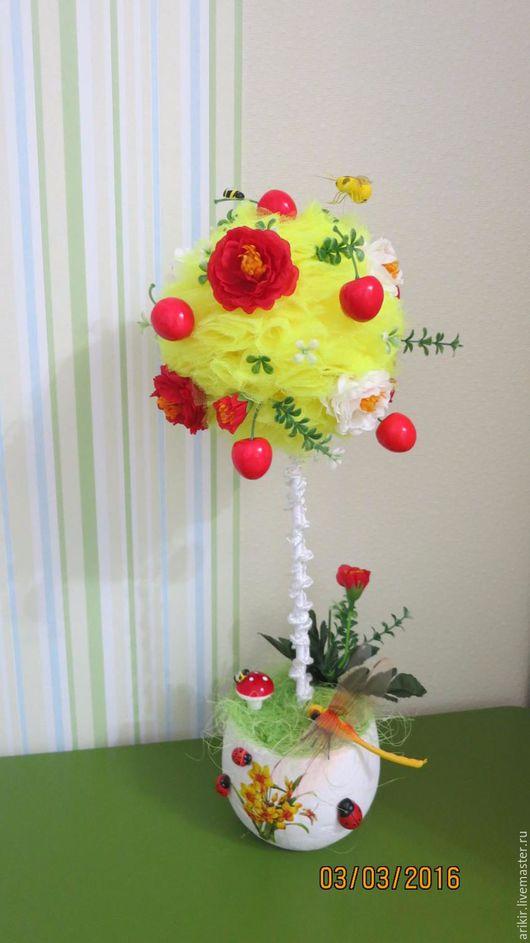 Деревья ручной работы. Ярмарка Мастеров - ручная работа. Купить Топиарий. Handmade. Желтый, топиарий, яркий, цветы