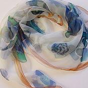 Аксессуары handmade. Livemaster - original item Batik Shawl. Blue Roses on the chiffon. Natural silk 100%. Handmade.