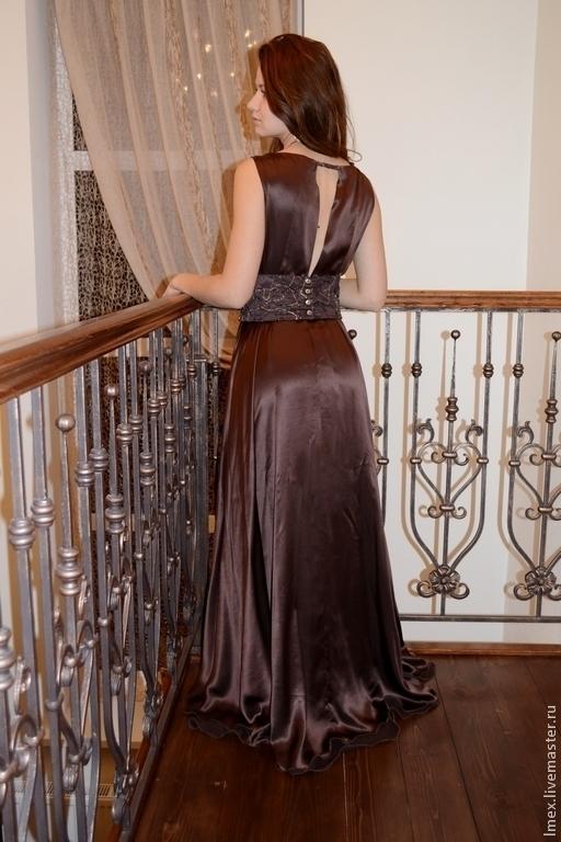 Платья ручной работы. Ярмарка Мастеров - ручная работа. Купить Платье в пол. 100% шелк. Горячий шоколад. Handmade. Коричневый
