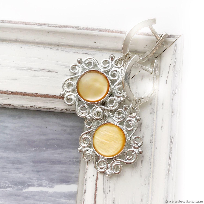 Earrings yellow mother of pearl lace, sun, white, yellow, Earrings, Yaroslavl,  Фото №1