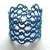 Украшения ручной работы. Ярмарка Мастеров - ручная работа Кружевной браслет «Искристые волны» (ярко-синий, серебристый). Handmade.
