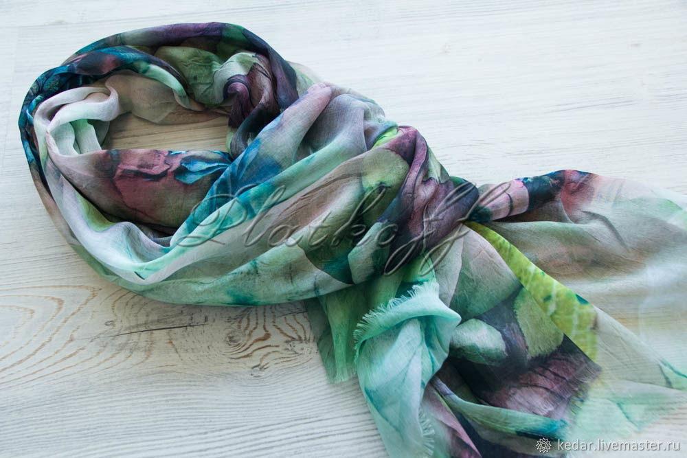 Italian summer scarf 'In the city garden' green, Scarves, Moscow,  Фото №1
