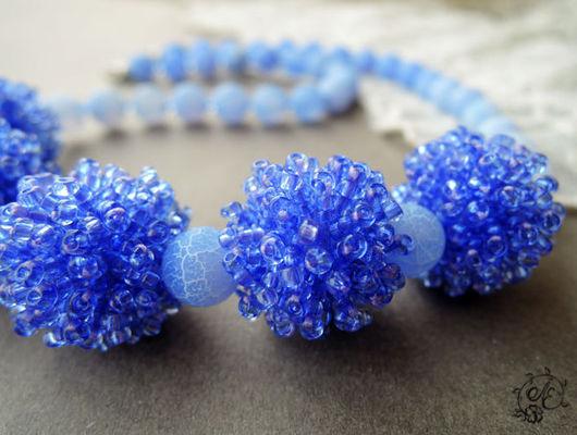 """Колье, бусы ручной работы. Ярмарка Мастеров - ручная работа. Купить Авторские бусы  """"Blue sky"""". Handmade. Голубой"""