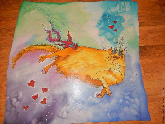 Шали, палантины ручной работы. Ярмарка Мастеров - ручная работа. Купить платочек- Нежданная любовь.... Handmade. Разноцветный, натуральный шелк