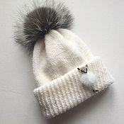 Аксессуары handmade. Livemaster - original item Hat female. Hat with double cuff and pompom. Handmade.
