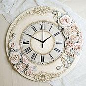 Для дома и интерьера handmade. Livemaster - original item Wall clock with volumetric roses sculptural painting. Handmade.