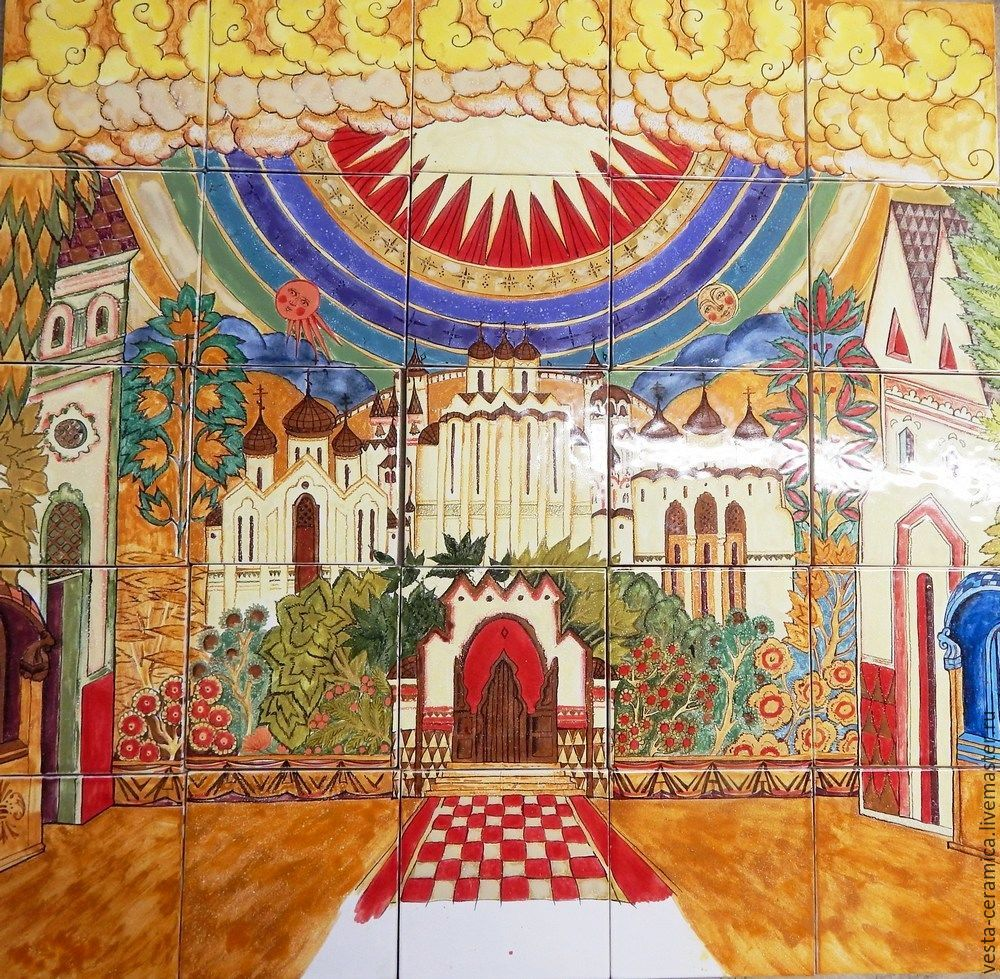 Ceramic panels `Transformed Kitezh`.
