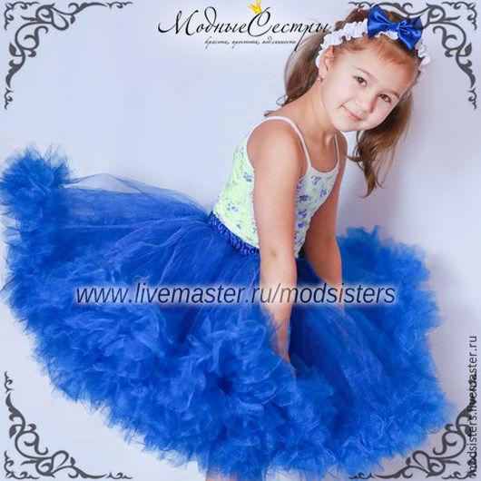Одежда для девочек, ручной работы. Ярмарка Мастеров - ручная работа. Купить Детская юбка (синяя) Арт.434. Handmade. Белый