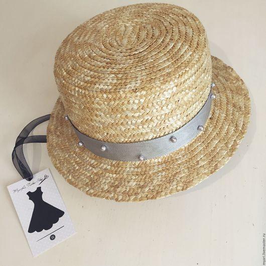 """Шляпы ручной работы. Ярмарка Мастеров - ручная работа. Купить Шляпка """"Канотье"""". Handmade. Бежевый, шляпка женская, соломка"""