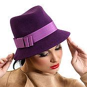 """Аксессуары ручной работы. Ярмарка Мастеров - ручная работа Фиолетовая женская фетровая шляпа """"Сливовый шик"""". Handmade."""