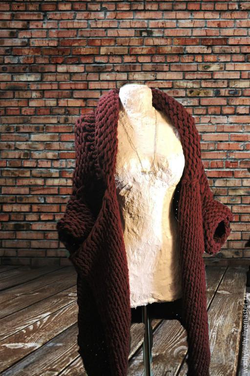 Верхняя одежда ручной работы. Ярмарка Мастеров - ручная работа. Купить Rubino, бордовое пальто-кардиган крупной вязки. Handmade.
