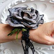 """Украшения ручной работы. Ярмарка Мастеров - ручная работа Браслет с цветком """"Ночная роза"""". Handmade."""