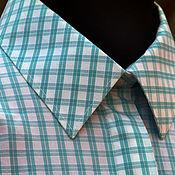 Рубашки ручной работы. Ярмарка Мастеров - ручная работа Хлопковая рубашка в голубую клетку c длинным рукавом. Handmade.