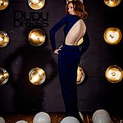 Одежда ручной работы. Ярмарка Мастеров - ручная работа Тёмно-синее платье с открытой спиной. Handmade.