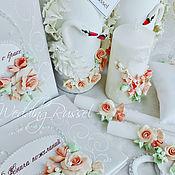 """Свадебный салон ручной работы. Ярмарка Мастеров - ручная работа Свадебный набор""""Чайная роза"""". Handmade."""