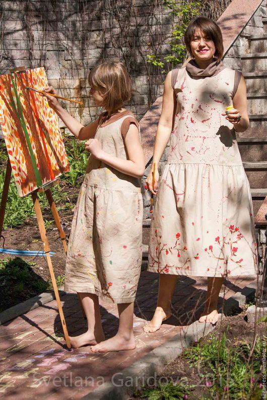 """Платья ручной работы. Ярмарка Мастеров - ручная работа. Купить Комплект платьев для мамы и дочки """"Художницы"""". Handmade. Серый, небо"""