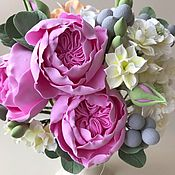 Цветы и флористика handmade. Livemaster - original item A bouquet of English rose, peony, and hydrangeas Wallflowers. Handmade.