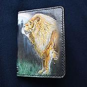Канцелярские товары handmade. Livemaster - original item Cover for documents with a warrior and a lion. Handmade.
