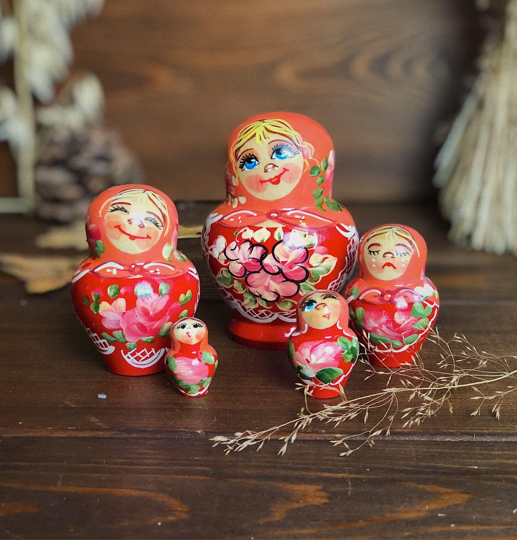 Matryoshka con emociones pequeñas, 8 cm 5 asientos, Dolls1, Moscow,  Фото №1