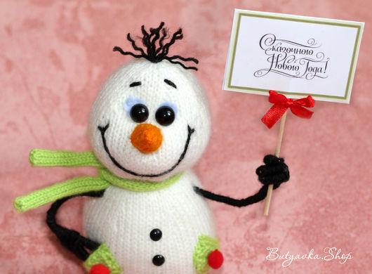 Новый год 2017 ручной работы. Ярмарка Мастеров - ручная работа. Купить Довольный снеговик! (игрушка на новый год). Handmade. Белый