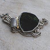 Украшения handmade. Livemaster - original item Large pendant with green tourmaline cut, silver and brass. Handmade.