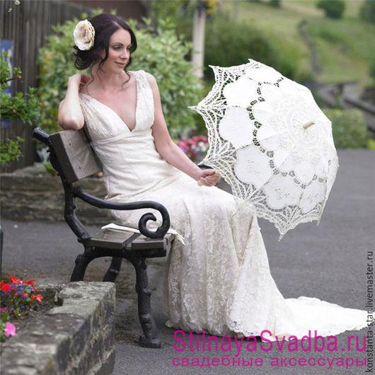 Свадебный зонт цвета айвори из венецианского хлопкового кружева с элементами ткани. Цена: 1990 руб. Размер: диаметр купола 82 см. Длина ручки 68 см.