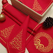 Подарки к праздникам handmade. Livemaster - original item Christmas set with embroidered