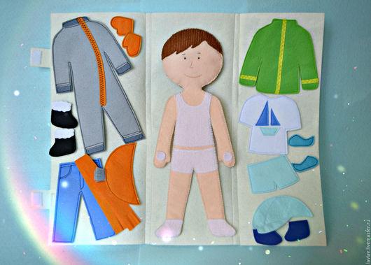Развивающие игрушки ручной работы. Ярмарка Мастеров - ручная работа. Купить Одень мальчика 28см (на липучках) + чехол. Handmade.