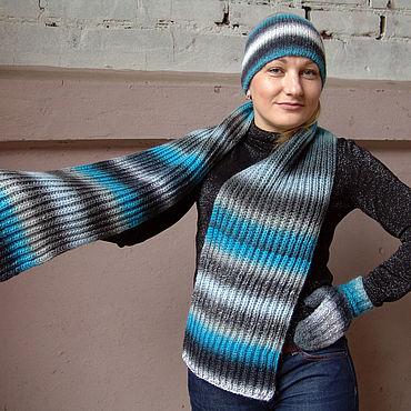 Аксессуары ручной работы. Ярмарка Мастеров - ручная работа Комплект: шапка двойная, шарф, варежки (шерсть) зимний серо-голубой. Handmade.