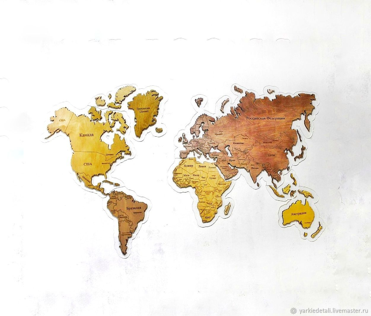 World map made from wood colored continents shop online on sets of items handmade livemaster handmade buy world map made from wood gumiabroncs Images