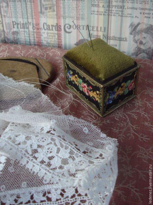 Реставрация. Ярмарка Мастеров - ручная работа. Купить Игольница. Handmade. Черный, игольница, Старинная вышивка, миниатюра, бархат, рукоделие, бронза