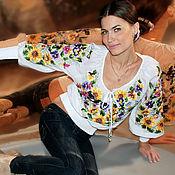 "Одежда ручной работы. Ярмарка Мастеров - ручная работа Летняя вышитая белая блуза вышиванка ""Цветы незабудки"" ручная вышивка. Handmade."