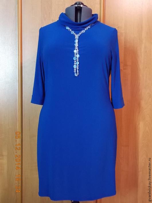 Платья ручной работы. Ярмарка Мастеров - ручная работа. Купить платье трикотажное.. Handmade. Синий, платье, эластичное, платье офисное